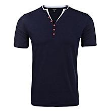 Men Casual Slim Y-Neck Short Sleeve T-Shirt Tops ( Navy Blue )