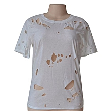 Women Holes Ripped O-Neck Short Sleeve T-Shirt -White