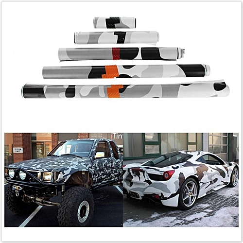 Generic Black And White Camo Vinyl Wrap Car Motorcycle Decal Mirror