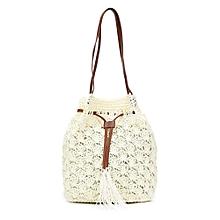 omen Beach Knitting Straw Handbag Solid String Mini Bucket Bag Summer Casual Holiday Crossbody Bag