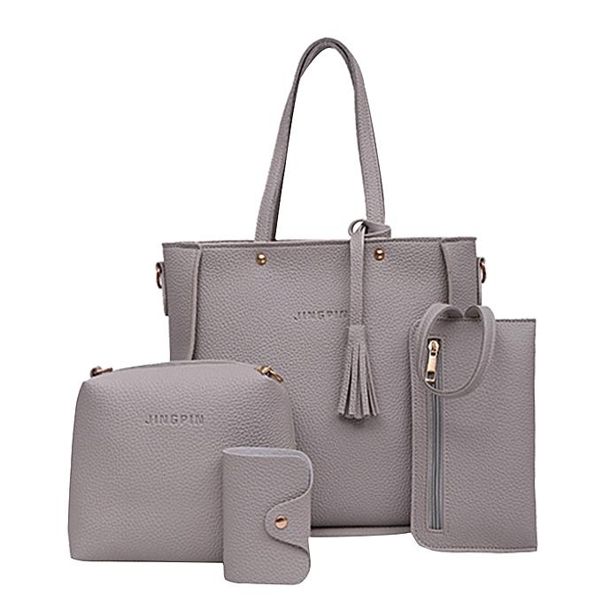 singedanFour Set Handbag Shoulder Bags Four Pieces Tote Bag Crossbody Wallet Bags GY -Gray