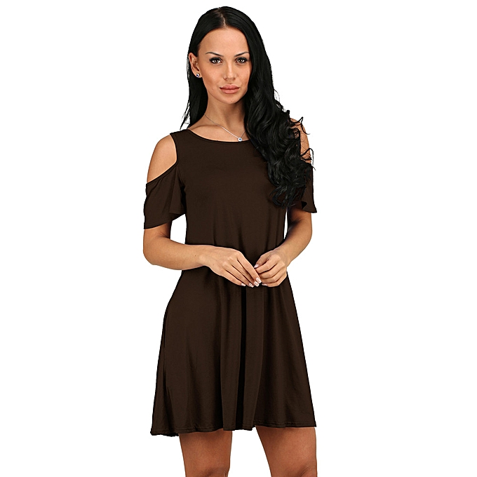 72cc5a262b5e paidndh store Women Summer Cotton Loose Solid Off-Shoulder Casual Sundress  Mini Dress -Brown