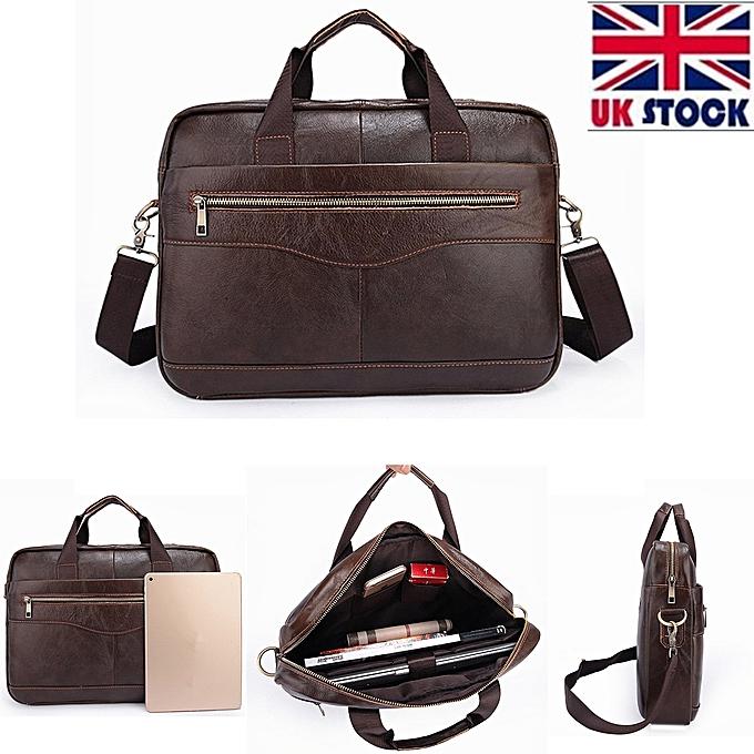 UK Men Business Genuine Leather Briefcase Handbag Laptop Shoulder Messenger  Bag Brown 4c99713173844