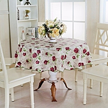 60'' Round Household Home Picnic Water Resistant Oil-proof Tablecloth PEVA Cover Peony Pattern