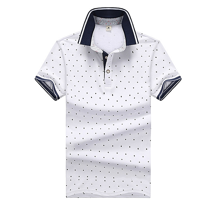 f98d2059 Mens Printed POLO Shirts Cotton Short Sleeve Camisas Polo Casual Stand  Collar Male Polo Shirt-white