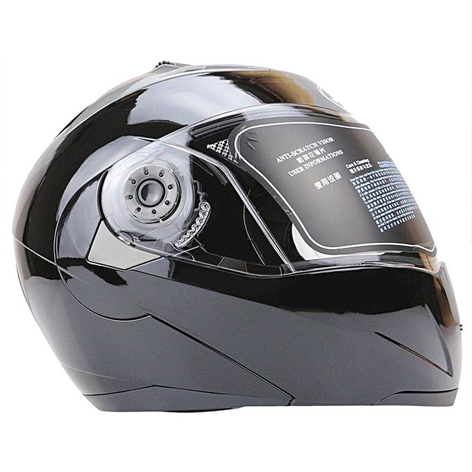 ab74b602 ... Full Face Street Bike Helmet Dual Visor With Transparent Shield L -  Black ...
