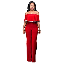 Ruffle Plain Bodycon Jumpsuits with Ankara Style-Red
