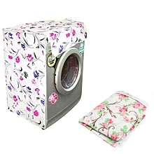 Waterproof Washing Machine Zippered Top Dust Cover Protection Top /Front Cover Pink Flower