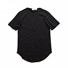Summer Street Style Curved Hem Long T-shirt (Black)