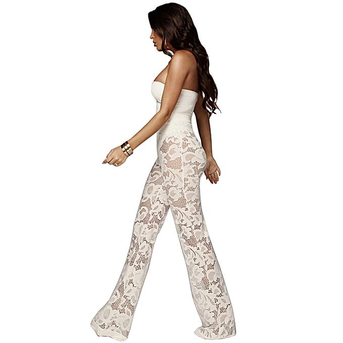 4afa3d97f1 ... Sexy Women Lace Three-piece Set Strapless Tank Top Sheer Wide Leg Pants  Cardigan Cover ...