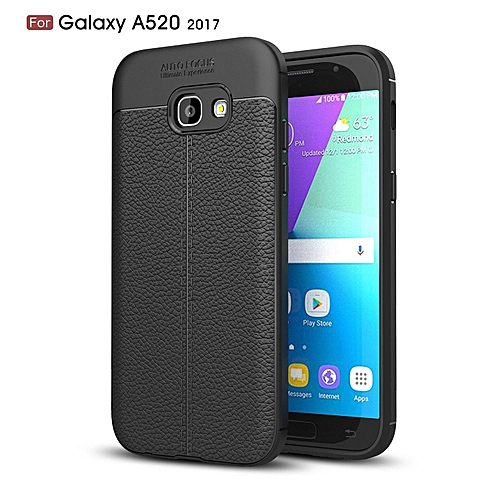 innovative design 83865 6ffbb PU Leather Litchi Pattern Case For Samsung Galaxy A5 2017 A520 Soft TPU  Silicone Back Cover For Samsung A520 Phone Case (Black)