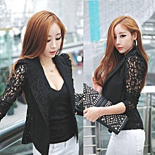 singedanSexy Women Long Sleeve Lace Crochet Blazer Small Blazer Jacket BK/XXL -Black