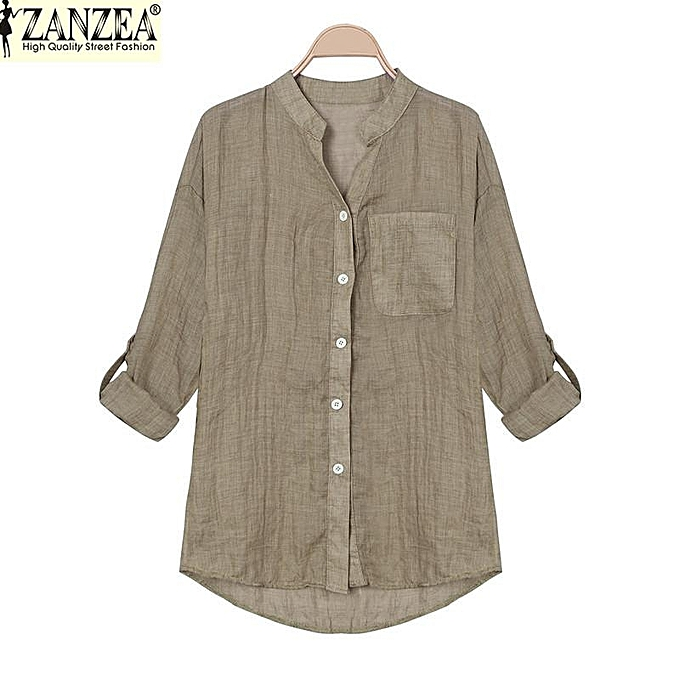 eb029a27ffc3 ZANZEA Korean Style Women Linen Shirts Summer Thin V-Neck Long Sleeve Blouse  Casual Tops