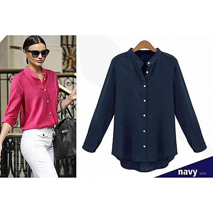eb095efddfc Women Long Sleeve Formal OL Cotton Blend Loose Collarless Blouse Dark blue