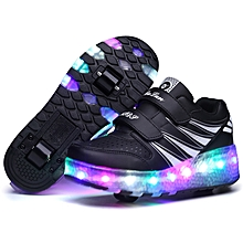 Kids Glowing Pulley Roller Runaway LED Girls Boys Shoes Automatic Pulley Sneakers Single /Double Wheel