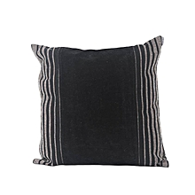Black Decorative Pillow with Stripes - Large