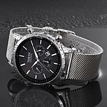 North Calendar Quartz Wrist Watch Stainless Steel Bracelet Male Watch- Black