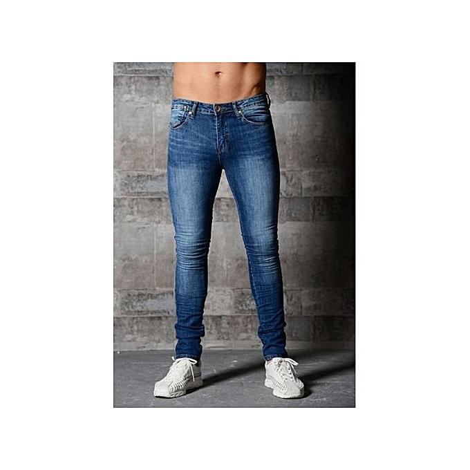Generic Men S Skinny Jeans Solid Color Elastic Zipper Men S Feet