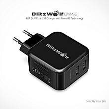 BlitzWolf BW-S2 4.8A 24W Dual EU USB Charger With Power3S Tech for iphone 8 8 Plus Xiaomi