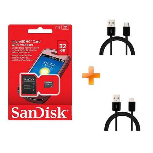 32GB  Memory Card with SD Adapter Standard black,Get Two Free  Android Cables