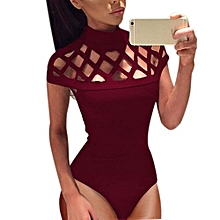 bluerdream-Womens Choker High Neck Bodycon Caged Sleeves Jumpsuit Bodysuit Tops-Red