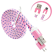 1M V8 Micro USB Charging Data Cable For Samsung Galaxy S7 Edge -Pink