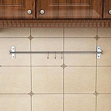 304 Stainless Steel Kitchen Utensil Hanging Wall Mount 80CM Bar 3 S Hooks Rack Rail Set Organizer Specification:80CM Hanging Rod
