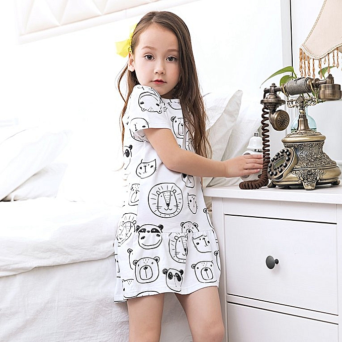 ed689703307 Baby Girls Short-sleeved T-shirt Dress with Lovely Cartoon Pattern Print  white for 7-8 year-old girls
