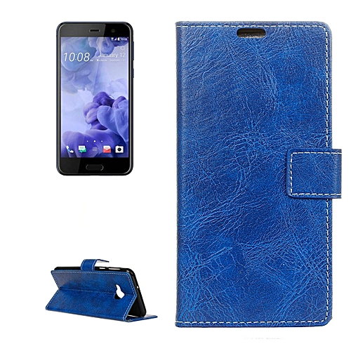 b60540f0eae110 Generic For HTC U Play Retro Crazy Horse Texture Horizontal Flip Leather  Case with Holder and Card Slots and Wallet and Photo Frame(Blue)   Best  Price ...