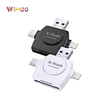 4 In1 Multifunction Card Reader Micro USB SD Lightning Type C Memory Card Reader -white