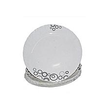 Diva 6 Piece Soup Plate Set - White with Black Circles & Misty Drops .