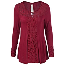 Cut Out Lace Trim T-Shirt - Red