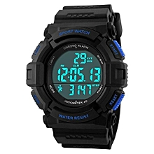 1116S Running Sports Men LED Digital Watch LED Waterproof Military Wristwatches - Blue