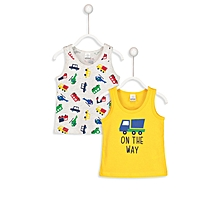 Yellow and Grey Printed Fashionable Top Set
