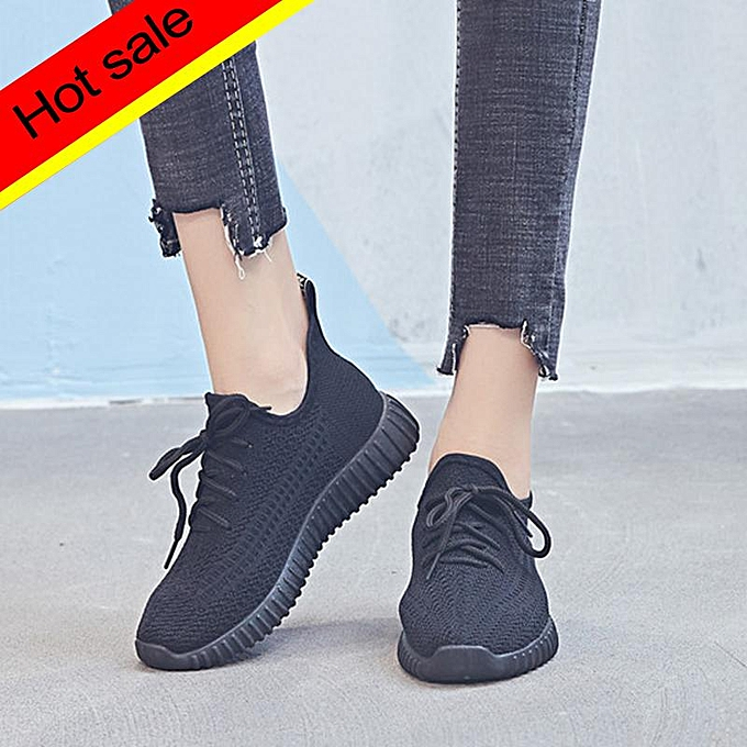 Women Casual Breathable Mesh Lace Up Flat Shoes Sock Sneakers