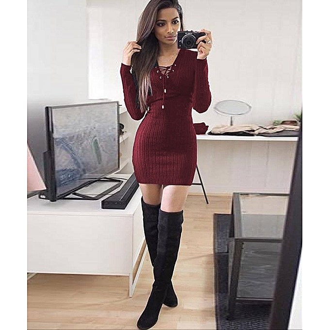 d222d2bb045 jiuhap store Women Winter Long Sleeve Knitted BodyCon Sweater Dress WE L-wine  Red