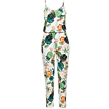 bluerdream-Women Leaves Jumpsuit Sleeveless Floral Printed Playsuit Party Trousers- White L