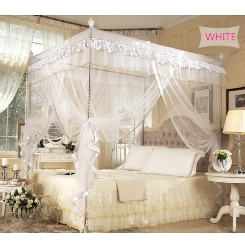 Generic Four Corner Post Bed Canopy Luxury Lace Princess Quadrilateral Bed Cover Mosquito Insect Nets for Home Decor Wedding #150 * 200cm & Generic Four Corner Post Bed Canopy Luxury Lace Princess ...