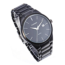 CURREN 8106 Men's Black Stainless Steel Round Quartz Wrist Watch