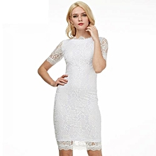 Women Floral Lace Pencil Dress Delicate Eyelash Lace Side Work Party Evening Bodycon Dress - White