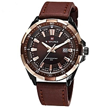 Brown Quartz Leather Strap Mens' Wrist Watch