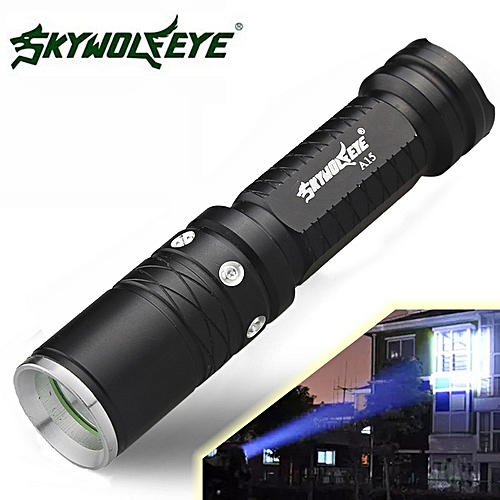 Fohting Super Bright 3 Modes XML T6 LED 18650 Flashlight Torch Lamp -Black
