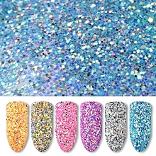 New Nail Powder Neon Mirror Glitter Mirror Effect Rainbow Crystal Opal