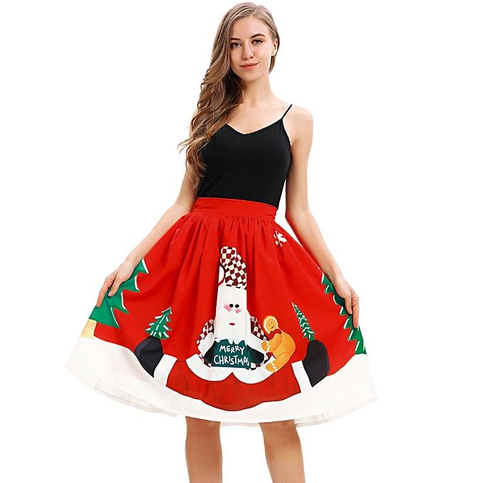 99366e925c6f1 jiahsyc store Women Casual Christmas Santa Flare Elastic High Waist Cosplay  Ball Gown Skirt