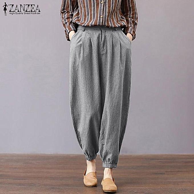 2dddccdbab9 ZANZEA Women Plus Size Striped Trousers Office OL Work Retro Tapered High  Waist Pants