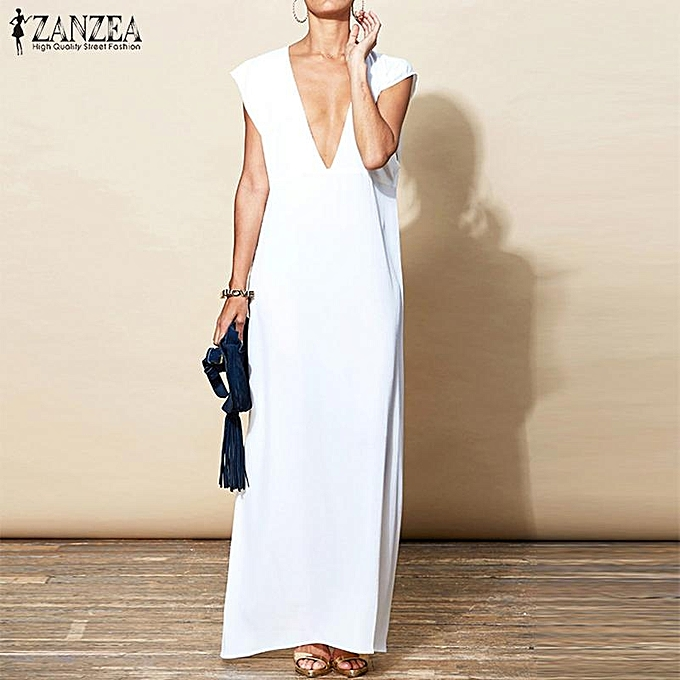 Zanzea Women Plunge V Neck Maxi Sundress Club Party Evening Tail Dress