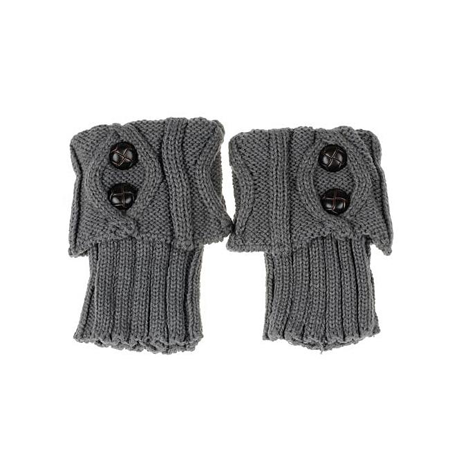 a2744ca34f9 Women Winter Leg Warmer Button Crochet Knit Boot Socks Topper Cuff GY ...