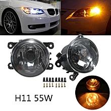 Driver Passenger Sides Fog Light Lamps 55W H11 Bulbs For Acura Honda Ford Nissan