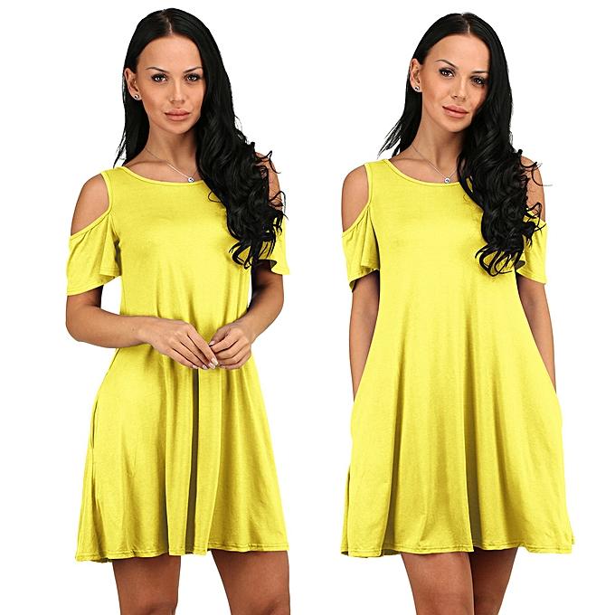 ddeebb9343cb ... paidndh store Women Summer Cotton Loose Solid Off-Shoulder Casual  Sundress Mini Dress -Yellow ...