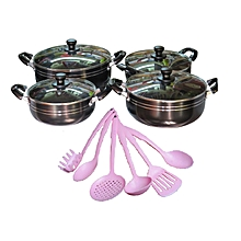 14 Piece Granite Coated Non Stick Cookware Set - Black & Pink